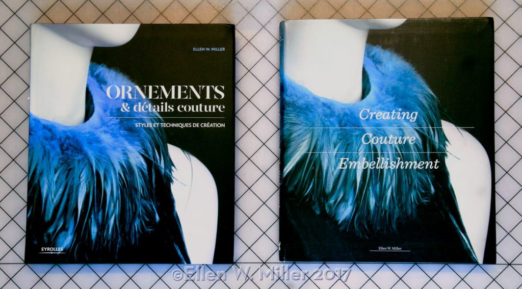 The book cover for Creating Couture Embellishment featuring blue feather neckline embellishment