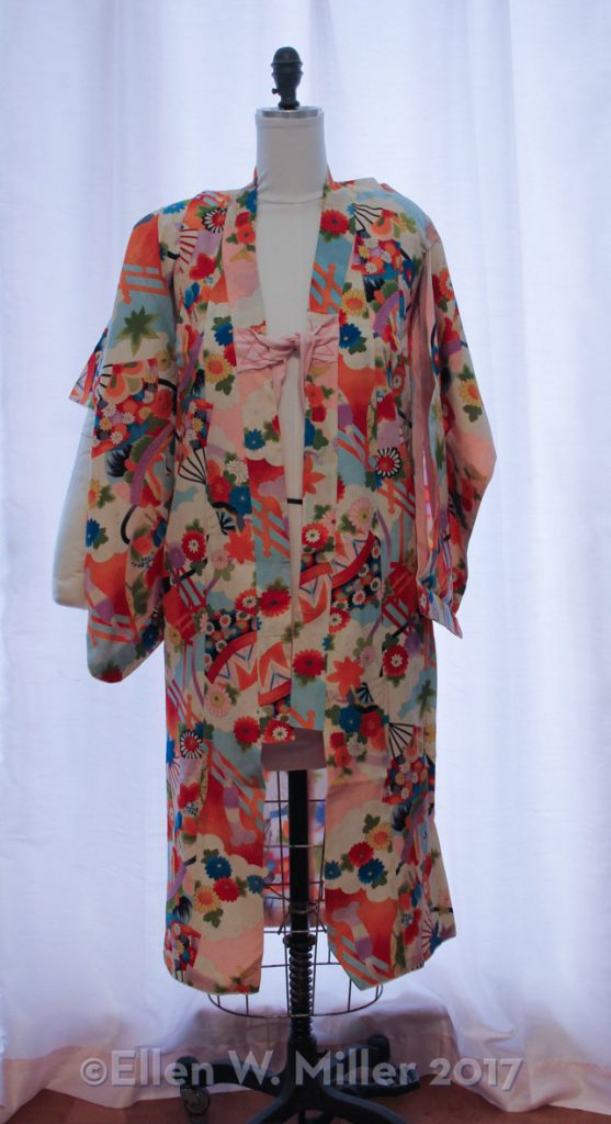 Colorful Japanese children's kimono on dress form
