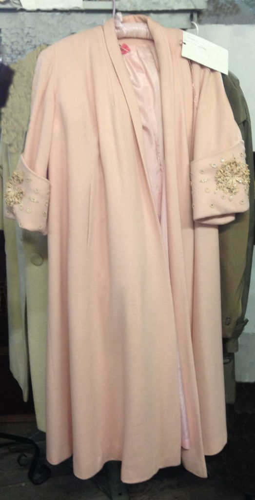 A soft pink wool coat