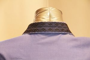 Blue shirt collar close up