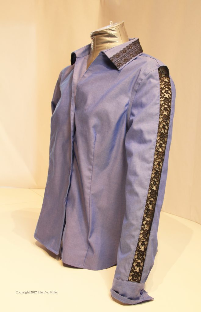 Blue shirt with lace embellishment
