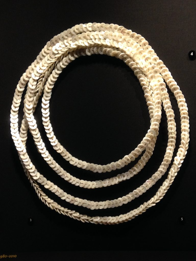 necklace made of buttons & gold wire