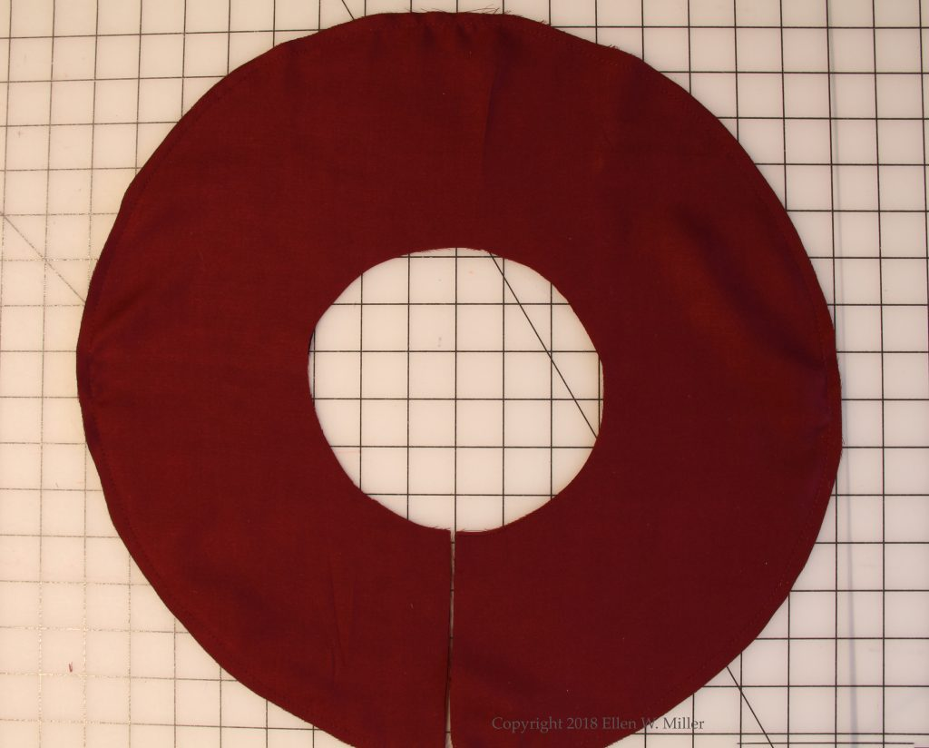 Circular flounce on the table, ready for pressing
