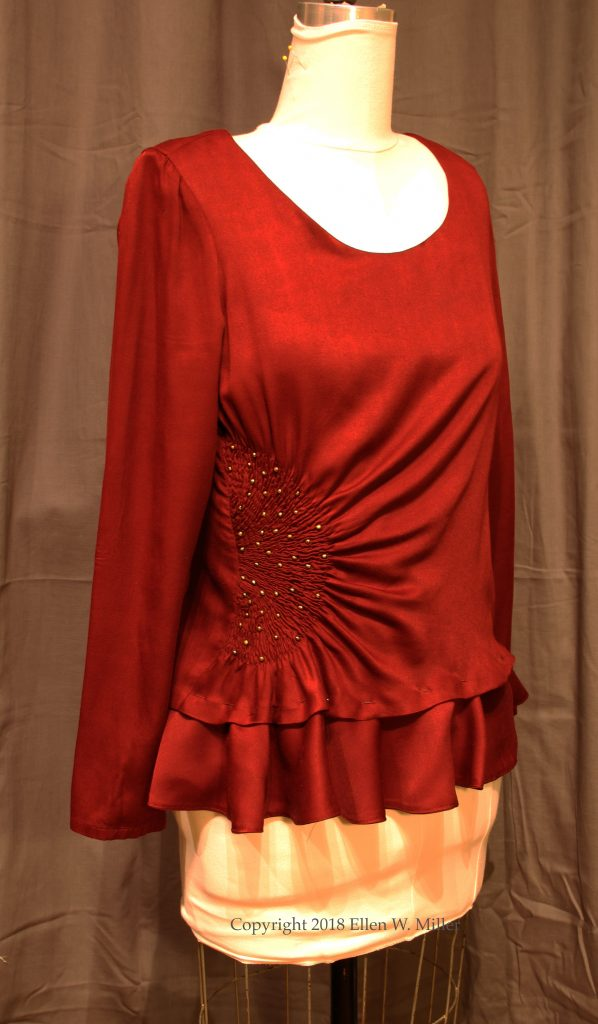 Burgundy top with circular flounce