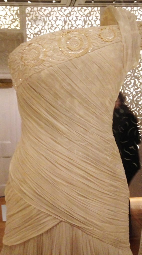 Shirred silk chiffon with beads and sequins