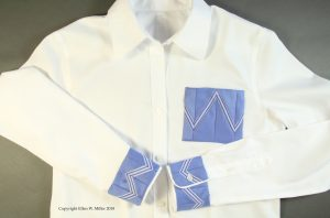 Seminole Patchwork sewn to the cuffs and pocket of a RTW white shirt