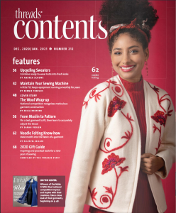 The contents page of Threads Magazine, issue 212, with a model photo of the Needle Felted jacket on the right.
