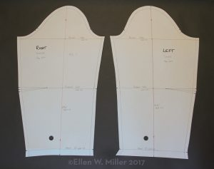 A right and a left sleeve pattern with elbow darts