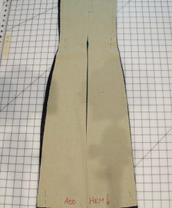 The center back seam opened so the pieces can lay flat.