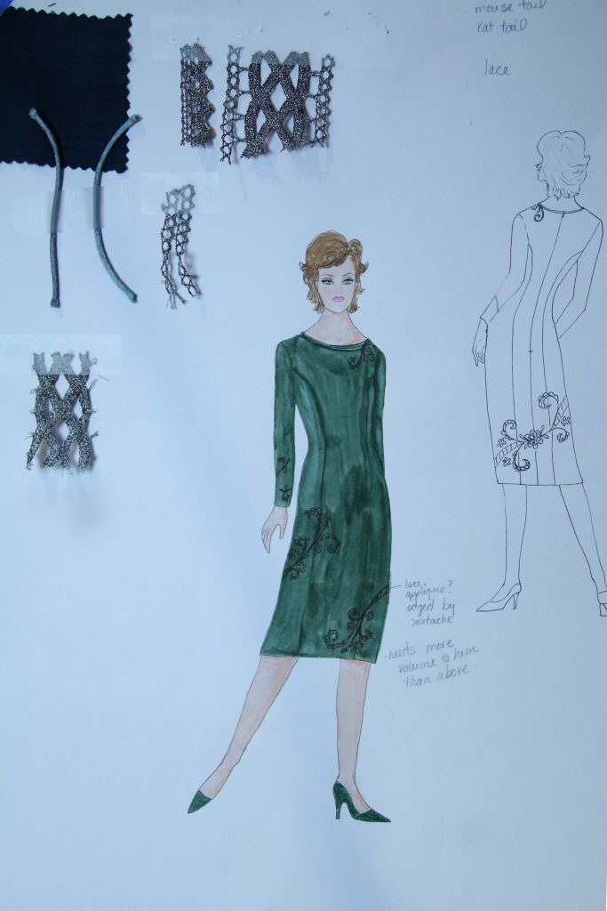Sketch of green princess line dress with swatches of fabric and trim