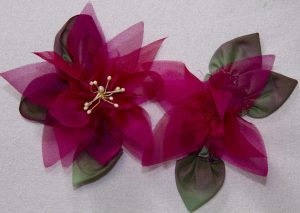 Poinsettias made from silk organza and ribbon