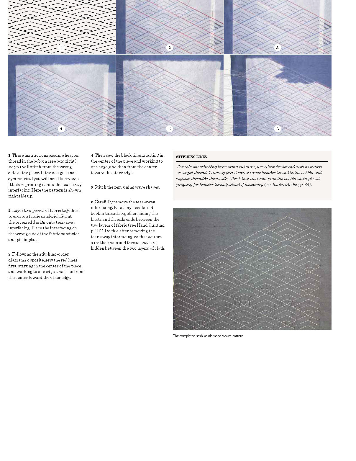 Second page of instructions from Creating Couture Embellishment describing how to do Sashiko.