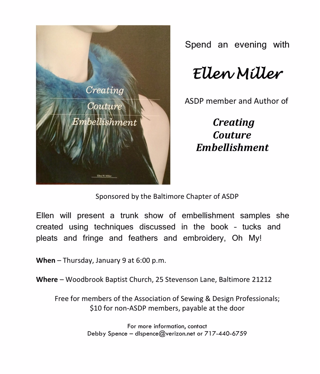 Flyer about Ellen Miller presenting trunk show of samples made for Creating Couture Embellishment. January 9, 2020, Baltimore MD.